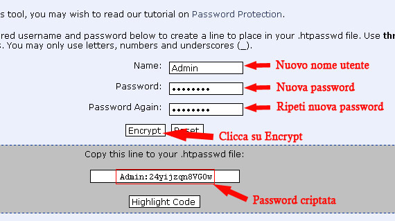 criptare password per area protetta