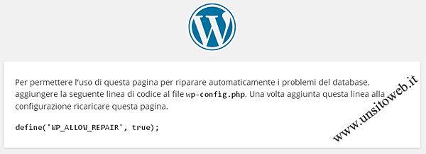 Connessione database wordpress