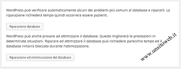 Riparazione database wordpress