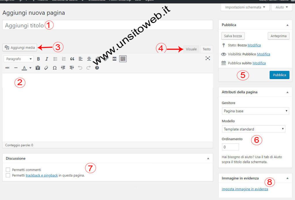 nuova pagina WordPress