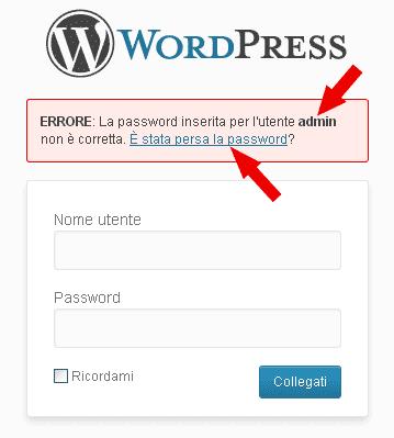Secondo link lostpassword