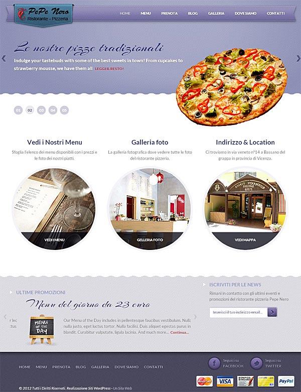 Sito wordpress ristorante pizzeria