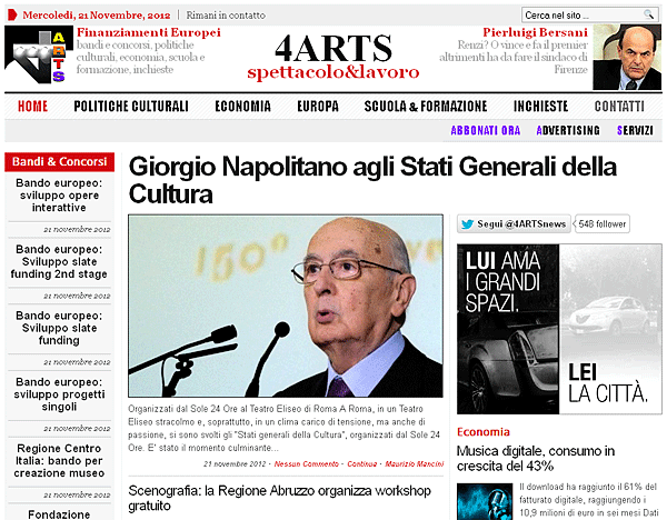 Nuovo sito wordpress 4arts.it
